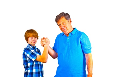 happy father and son holding hands photo