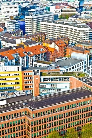 cityscape of Hamburg from the famous tower Michaelis with view to the city and the harbor Stock Photo - 9470148