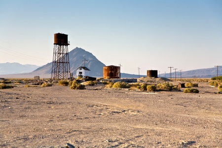 borax: old abandonned factory with rusty watertank in village Death valley Junction  an old Borax Mining spot at the entrance of the Death valley