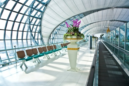 departure Gate and hall in the new Airport Suvarnabhumi in Bangkok photo