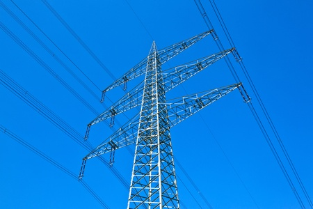 electricity tower with blue sky photo