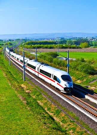 high speed train: high speed train with full speed in landscape