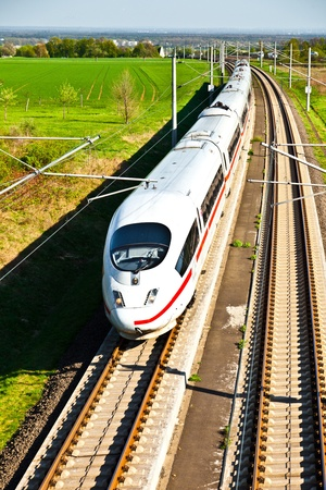 high speed train with full speed in landscape Stock Photo - 9583461