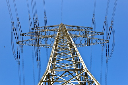 electricity tower with blue sky and bird photo