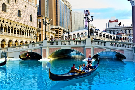LAS VEGAS, NEVADA - JULY 17: Venice Theme Venetian with Gondola on water and Caesars Casino Hotel, July 17, 2008 in Las Vegas, Nevada. Editorial