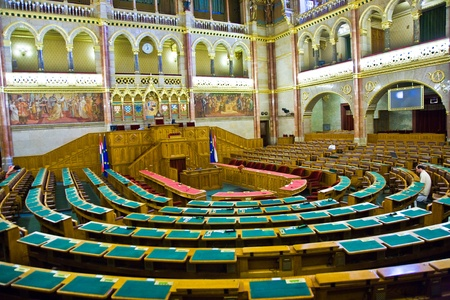 BUDAPEST, HUNGARY - AUGUST 05: inside Famous Hungary parliament without caucus  on  August 05,2008, Budapest, Hungary.  Inaugurated 1896 and Opened to public at Sep 27,1884 and as the Palace of Westminster in Gothic Revival Style. Stock Photo - 9475233