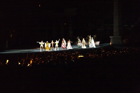 verdi: VERONA, ITALY - August  5: performers, singer on stage with AIDA from Verdi in the arena of verona August 05,2009, Verona, Italy.