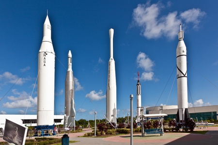 ORLANDO, USA - JULY 25: The Rocket Garden at Kennedy Space Center features 8 authentic rockets from past space explorations on July 25, 2010 in Orlando, USA. Stock Photo - 9475232