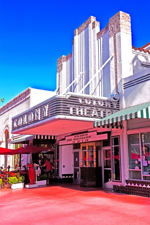 build in: MIAMI, USA - JULY 27:  Famous Colony Art Deco Theater renovated for 6,5 MIllion US $ and open for public again on July 27, 2010 in MIami, USA. Build in 1934 in art deco style to entertain the visitors. Editorial