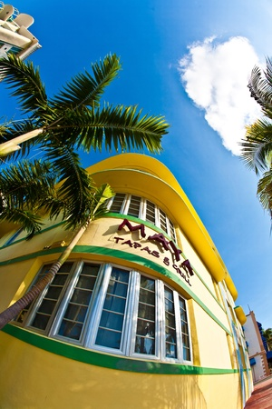 MIAMI BEACH, USA - AUGUST 02: midday view at Ocean drive of famous Art deco restaurant Maja on August 02,2010 in Miami Beach. Art Deco architecture in South Beach is one of the main tourist attractions.