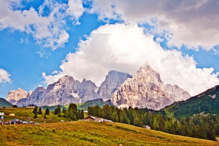 famous pass in the Alpes Passo di Rolle, old ancient Pass in the dolomite Alpes photo