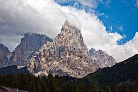 the ancient pass: famous pass in the Alpes Passo di Rolle, old ancient Pass in the dolomite Alpes