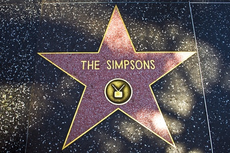 HOLLYWOOD, LOS ANGELES - JULY 5: the star for The Simpsons on the walk of fame in Hollywood on a sunny day on July 5,2008, Los Angeles, USA Stock Photo - 9500943