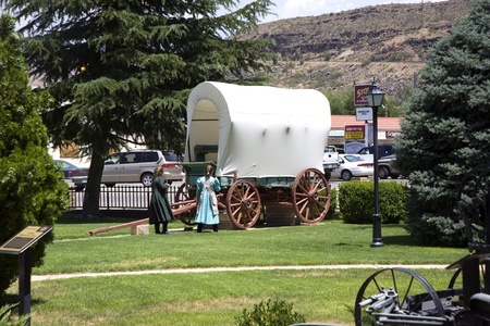 waggon: HURRICANE, USA - JULY 17: visiting the Museum of Hurricane with an old covered waggon of the early settlers  on July 17,2008 Hurricane, USA