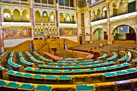 BUDAPEST, HUNGARY - AUGUST 05: inside Famous Hungary parliament without caucus  on  August 05,2008, Budapest, Hungary.  Inaugurated 1896 and Opened to public at Sep 27,1884 and as the Palace of Westminster in Gothic Revival Style. Stock Photo - 9500981