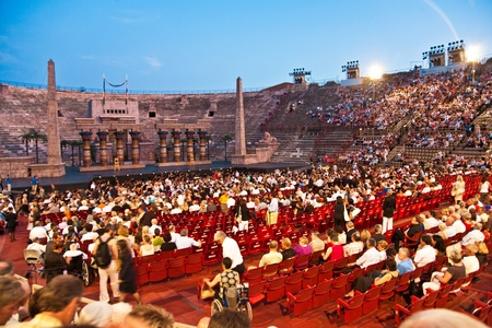 VERONA, ITALY - August  5: people are waiting for the start of the opera in the arena of verona August 05,2009, Verona, Italy. Stock Photo - 9500939
