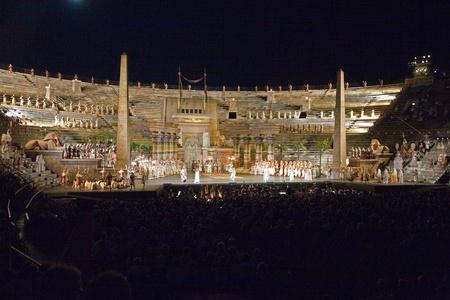 verdi: VERONA, ITALY - August 05: stage of the opera Aida from Verdi in the arena of verona August 05,2009, Verona, Italy. Editorial
