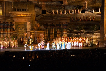 amphitheater: VERONA, ITALY - August  5: performers, singer on stage with AIDA from Verdi in the arena of verona August 05,2009, Verona, Italy.