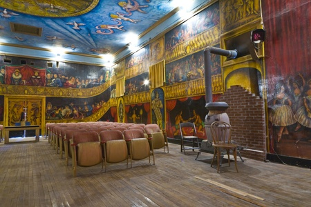 martha: DEATH VALLEY JUNCTION, USA - JULY 17: inside the beautiful Amargosa Opera House painted by actor Martha Becket over jears and still operated by her on July 17, 2008 Death Valley Junction, USA