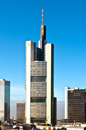 FRANKFURT, GERMANY - SEPTEMBER 10: view to skyline of Frankfurt with modern skyscraper owned by banks and reflections early morning on September 10,2009 Frankfurt,Germany.
