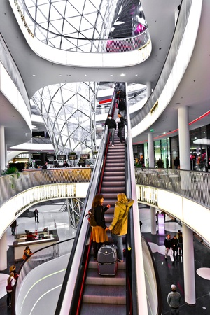 FRANKFURT, GERMANY - AUGUST 21: Modern architecture in the new shopping center Myzeil by architect M. Fuksas symbolizes a dried river in afternoon light on August, 21, 2010 in Frankfurt, Germany.