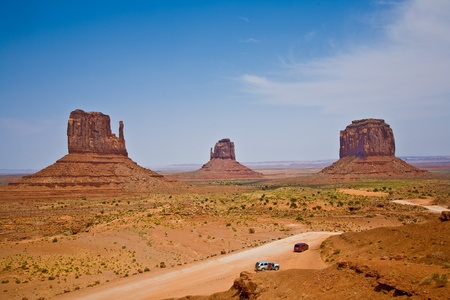 butte: Mittens and Merric Butte  are giant sandstone formation in the Monument valley