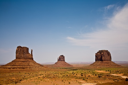 Mittens and Merric Butte are giant sandstone formation in the Monument valley photo