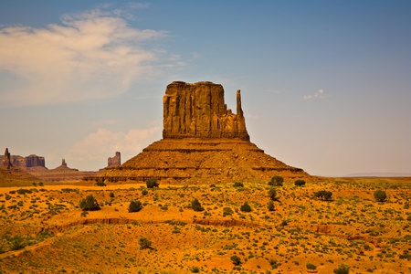 WEst Mittens Butte is a giant sandstone formation in the Monument valley Stock Photo - 9543563