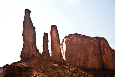 butte: famous sandstone Rocks called Three Sieters Butte in monument valley