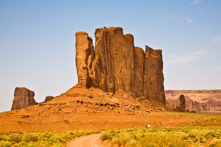 Camel Butte is a giant sandstone formation in the Monument valley that resembles a camel when viewed from the south photo