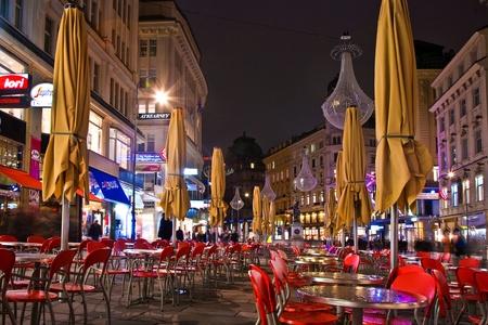 vienna: VIENNA, AUSTRIA - APRIL 25: Vienna - famous Graben street at night with rain reflection on the cobbles  on April 25, 2009 in Vienna, Austria.