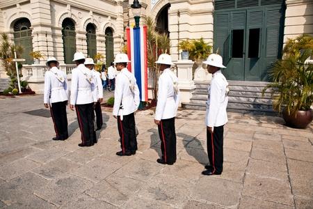 BANGKOK, THAILAND - JANUARY 5: Parade of the kings Guards, in the Grand Palace, Changing the Guard January 5, 2010 in Bangkok, Thailand