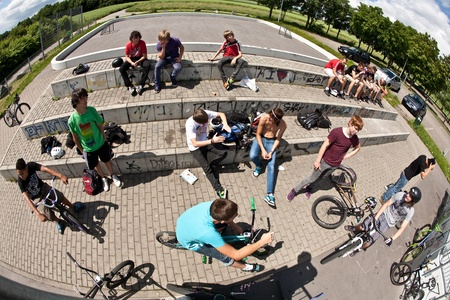 ESCHBORN, GERMANY - JUNE 12: first official bike jam invited by city of Schwalbach for teens on June 12, 2010, Eschborn, Germany