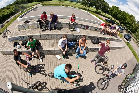 ESCHBORN, GERMANY - JUNE 12: first official bike jam invited by city of Schwalbach for teens on June 12, 2010, Eschborn, Germany Stock Photo - 9522233