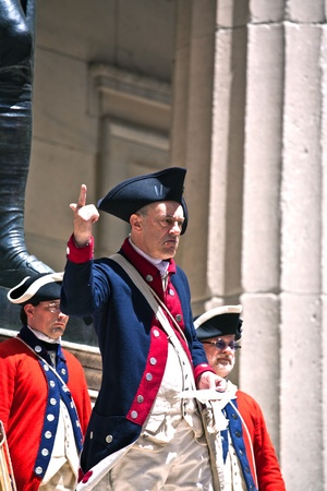 NEW YORK, USA – JULY 9: Ceremony for declaration of independence in old costumes takes place at the Washington statue in front of federal Hall National Memorial  on July 9,2010 in New York, USA. Stock Photo - 9522103