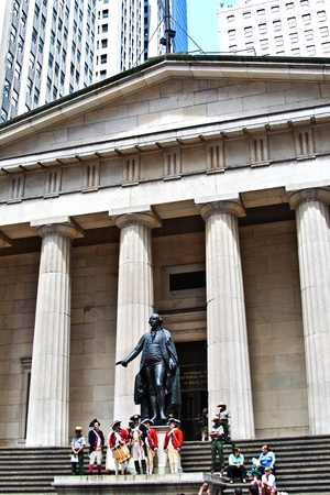 federal hall: NEW YORK, USA � JULY 9: Ceremony for declaration of independence in old costumes takes place at the Washington statue in front of federal Hall National Memorial  on July 9,2010 in New York, USA.