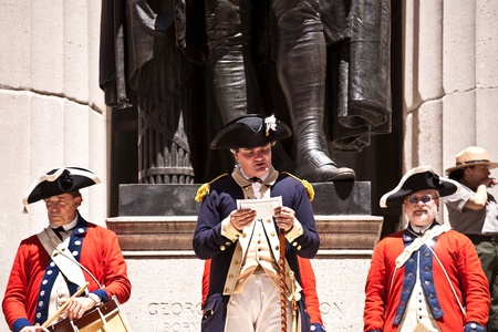declaration: NEW YORK, USA � JULY 9: Ceremony for declaration of independence in old costumes takes place at the Washington statue in front of federal Hall National Memorial  on July 9,2010 in New York, USA.