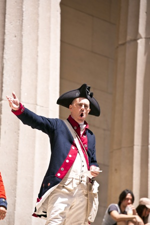 declaration: NEW YORK, USA – JULY 9: Ceremony for declaration of independence in old costumes takes place at the Washington statue in front of federal Hall National Memorial  on July 9,2010 in New York, USA.