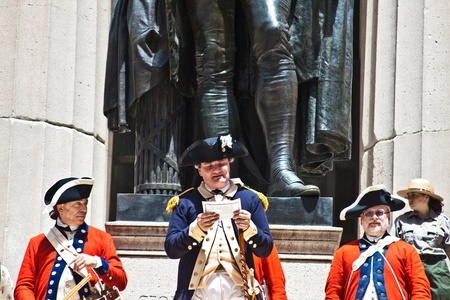 NEW YORK, USA – JULY 9: Ceremony for declaration of independence in old costumes takes place at the Washington statue in front of federal Hall National Memorial  on July 9,2010 in New York, USA. Stock Photo - 9522092