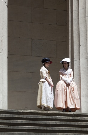 NEW YORK, USA � JULY 9: Ceremony for declaration of independence in old costumes takes place at the Washington statue in front of federal Hall National Memorial  on July 9,2010 in New York, USA. Stock Photo - 9522197