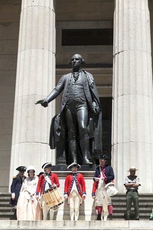 NEW YORK, USA – JULY 9: Ceremony for declaration of independence in old costumes takes place at the Washington statue in front of federal Hall National Memorial  on July 9,2010 in New York, USA. Stock Photo - 9522269