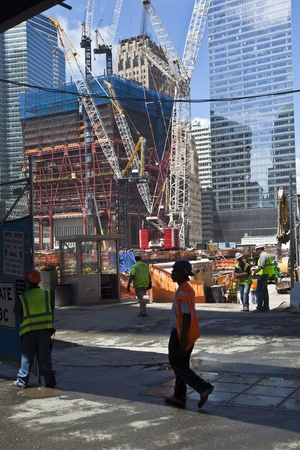 NEW YORK, USA - JULY 9: workers on construction work on Ground Zero,rebuilding the site on July 9, 2010, New York Stock Photo - 9522308