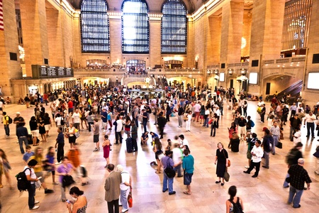 NEW YORK CITY- JULY 10 :  view of commuters and tourists flood the grand central station during the afternoon rush hour July 10, 2010 in New York.