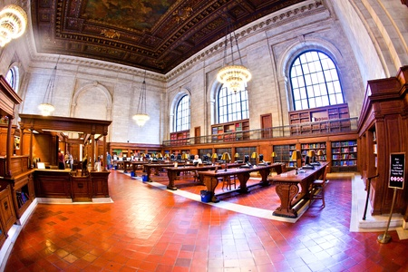 court room: NEW YORK CITY - JULY 10: New York Public Library is the third largest public library in North America used by more than 9000 people a day on July 10, 2010 in New York City. John Billings planned the library in 1911.