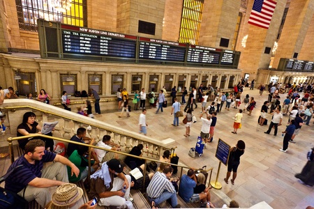 work station: NEW YORK CITY- JULY 10 :  view of commuters and tourists flood the grand central station during the afternoon rush hour July 10, 2010 in New York.