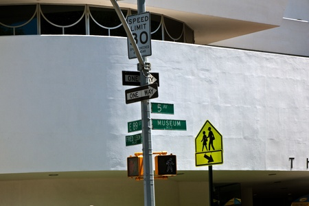 NEW YORK, USA � JULY 11: traffic signs in front of the Guggenheim museum at 5th avenue   on July 11,2010 in New York, USA.