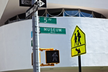 NEW YORK, USA – JULY 11: traffic signs in front of the Guggenheim museum at 5th avenue   on July 11,2010 in New York, USA.