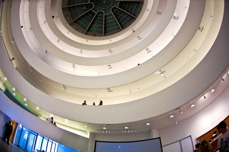 NEW YORK, USA - JULY 17: inside the famous Guggenheim museum with the winding construction in the afternoon on 17. Juli 2010, New York, USA