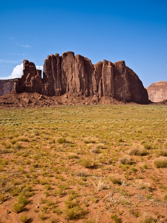 sandstone formation in the Monument valley in the intensive afternoon light photo