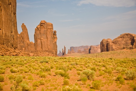 The Bird and the Hand Buttes are giant sandstone formations in the Monument valley made of sandstone photo